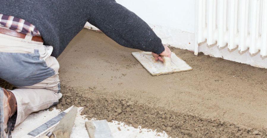 chape en ciment (mortier)