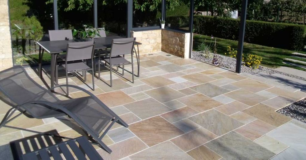 terrasse dalles de pierre